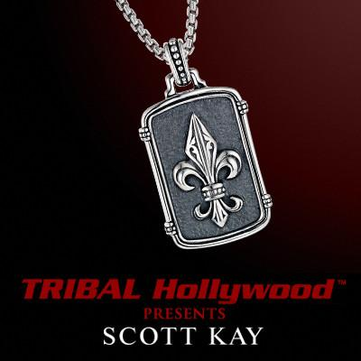 FLEUR DE LYS DOG TAG Sterling Silver Necklace by Scott Kay
