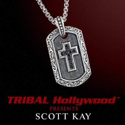 Scott Kay BLACK SAPPHIRE CROSS DOG TAG Sterling Silver Mens Necklace