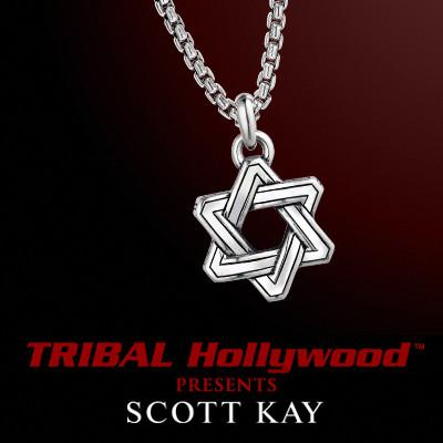 INTERLACED STAR OF DAVID in Shiny Silver Mens Necklace by Scott Kay