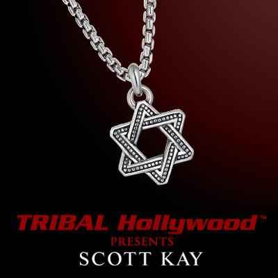 Scott Kay INTERLACED STAR OF DAVID Textured Silver Mens Necklace