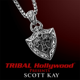 BLACK SAPPHIRE CROSS SHIELD Sparta Engraving Necklace by Scott Kay