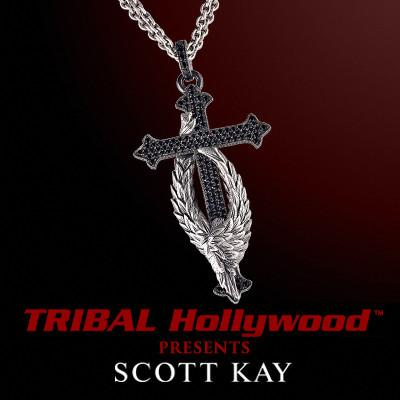 PROTECTING THE CROSS GUARDIAN ANGEL Scott Kay Sterling Silver Pendant Necklace with Black Spinel Stones