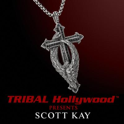 76b09352bda PROTECTING THE CROSS GUARDIAN ANGEL Small Scott Kay Silver Pendant Necklace  with Black Sapphires | Tribal Hollywood