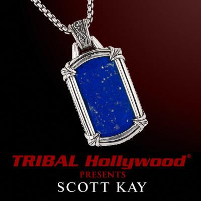 BLUE LAPIS STONE Large Dog Tag Mens Necklace by Designer Scott Kay in Sterling silver