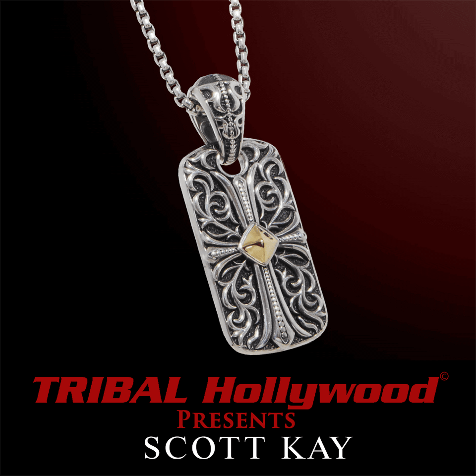 UnKaged ENGRAVED CROSS DOG TAG Necklace with 18K Gold Center - Scott Kay Mens Sterling Silver Jewelry