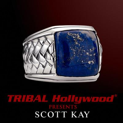 LARGE BLUE LAPIS STONE Woven Sterling Silver Mens Ring by Scott Kay