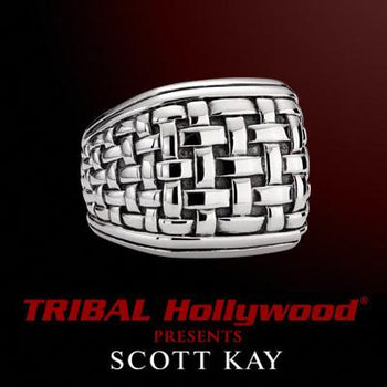 LARGE WOVEN SILVER Mens Ring By Scott Kay