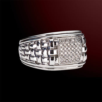 DIAMOND STONES WOVEN Sterling Silver Mens Ring by Scott Kay