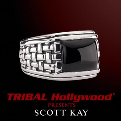 BLACK ONYX STONE Woven Sterling Silver Mens Ring by Scott Kay