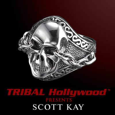 UnKaged Sterling Silver SKULL RING with Chained Eyes - Scott Kay Mens Jewelry