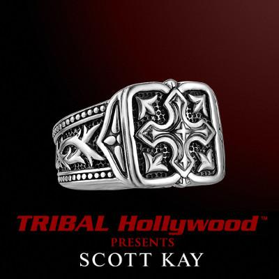 UnKaged GOTHIC CROSS Sterling Silver Mens Ring - Scott Kay