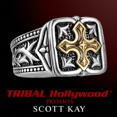 UnKaged Gold GOTHIC CROSS Sterling Silver Mens Ring - Scott Kay