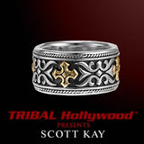 Scott Kay TWO-TONE GOTHIC CROSS Sterling Silver and 18K Gold Mens Ring