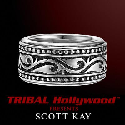 UnKaged BARBED VINE Sparta Mens Sterling Silver Mens Ring by Scott Kay