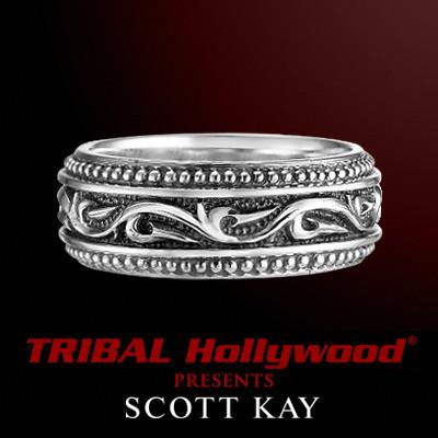 RAISED KNOTTED VINES Thin Width Engraved Silver Mens Ring by Scott Kay
