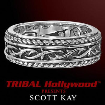 UnKaged TWISTED THORN Scott Kay Men's Band Style Silver Ring