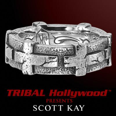 HAMMERED CROSS Band Ring by Scott Kay Men's Sterling Silver