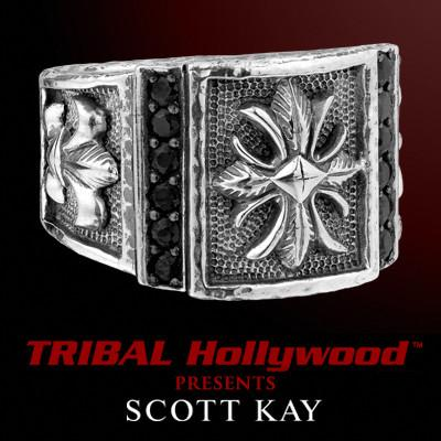 MILITARY CROSS BLACK SAPPHIRE Sterling Silver Men's Ring by Scott Kay