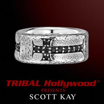 Scott Kay BYZANTINE CROSS Sterling Silver Mens Ring w Black Sapphires