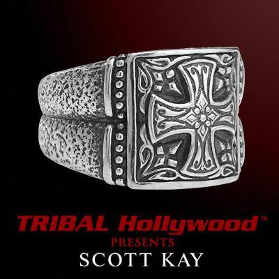 ENGRAVED IRON CROSS Hand Forged Sterling Silver Mens Ring by Scott Kay