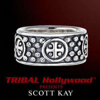 SUN CROSS RING with Hammered Studs in Sterling Silver by Scott Kay