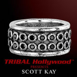 SAPPHIRE RIVETED Sterling Silver Mens Ring by Scott Kay
