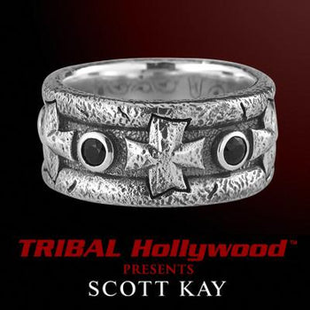 Scott Kay HAMMERED IRON CROSS BLACK SAPPHIRE Silver Mens Ring