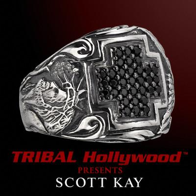 CHRIST CROSS Ring in Sterling Silver with Black Sapphire by Scott Kay