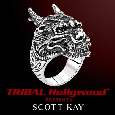 SAMURAI DRAGON RING for Men by Scott Kay in Sterling Silver