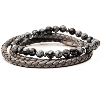 GREYSCALE Bracelet Stack for Men with Grey Leather and Agate Beads