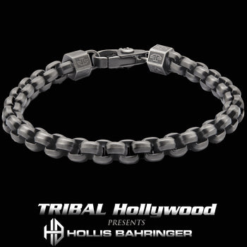 Hollis Bahringer KADENA BOX LINK BRACELET for Men in Gunmetal Steel