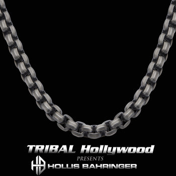 Hollis Bahringer KADENA BOX LINK CHAIN for Men in Gunmetal Steel