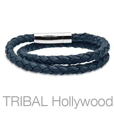 SALVATORE Navy Blue Braided Double Wrap Mens Leather Bracelet