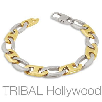 JINX Mens Anchor Link Bracelet in Shiny Stainless Steel and Gold PVD