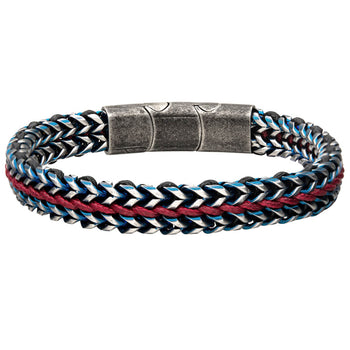 PATRIOT Red Leather and Steel Mens Bracelet with Blue Steel Accents