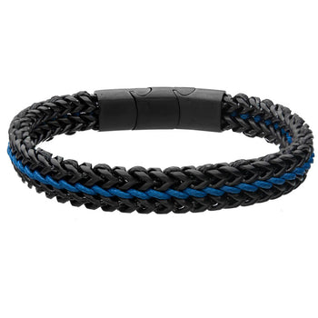 NIGHTWING Black Steel and Blue Leather Bracelet for Men