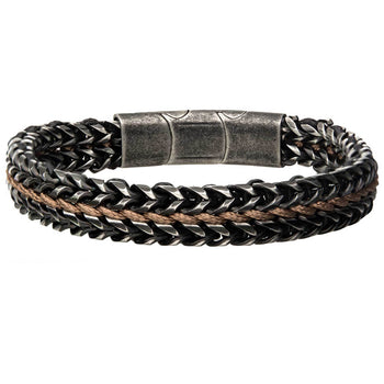MOUNTAINEER Antique Gunmetal Steel and Brown Leather Mens Bracelet