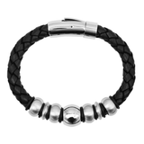 BACCI BALL Black Braided Leather Bracelet with Stainless Steel Beads
