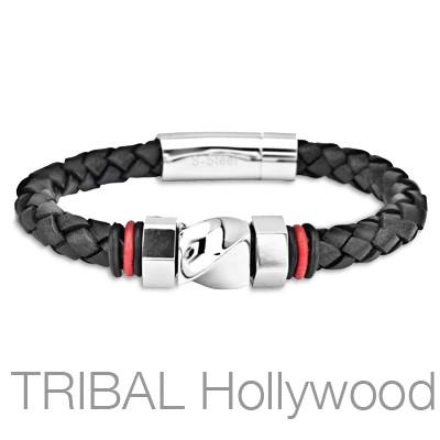 WRANGLER Black Braided Mens Leather Bracelet with Steel Twist Bolt