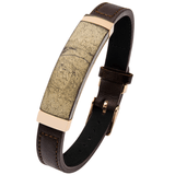 CHALCOPYRITE BRACELET Flat Brown Leather with Belt Buckle Clasp