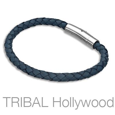 MAESTRO Navy Blue Braided Leather Mens Bracelet
