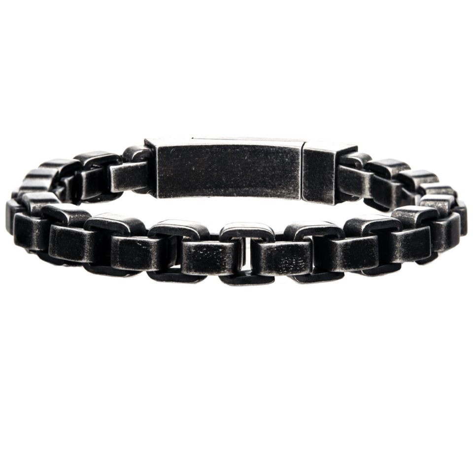 BLACK BOX Thick Width Rounded Box Link Bracelet for Men in Black Steel