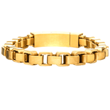 GOLD BOX Thick Width Rounded Box Link Bracelet for Men in Gold Steel