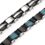 DOUBLE DUTY Blue and Black Stainless Steel Two-Sided Mens Bracelet