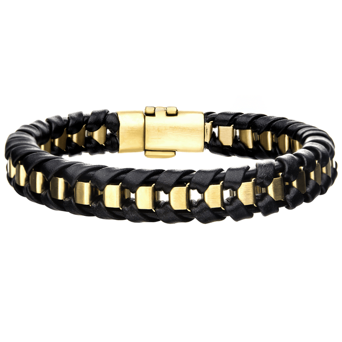 TWILIGHT GOLD Steel and Black Leather Sunrise Color Mens Bracelet
