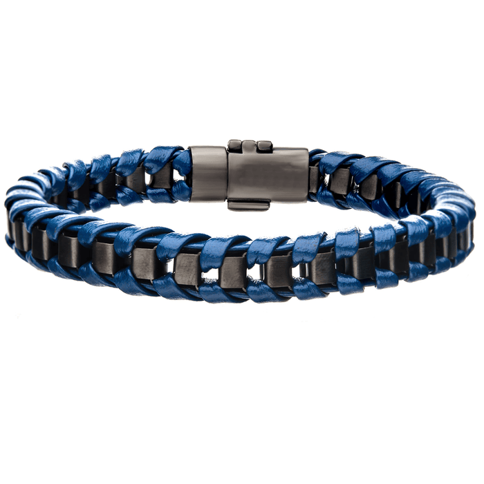 TWILIGHT BLUE Leather and Gunmetal Steel Sunset Color Mens Bracelet