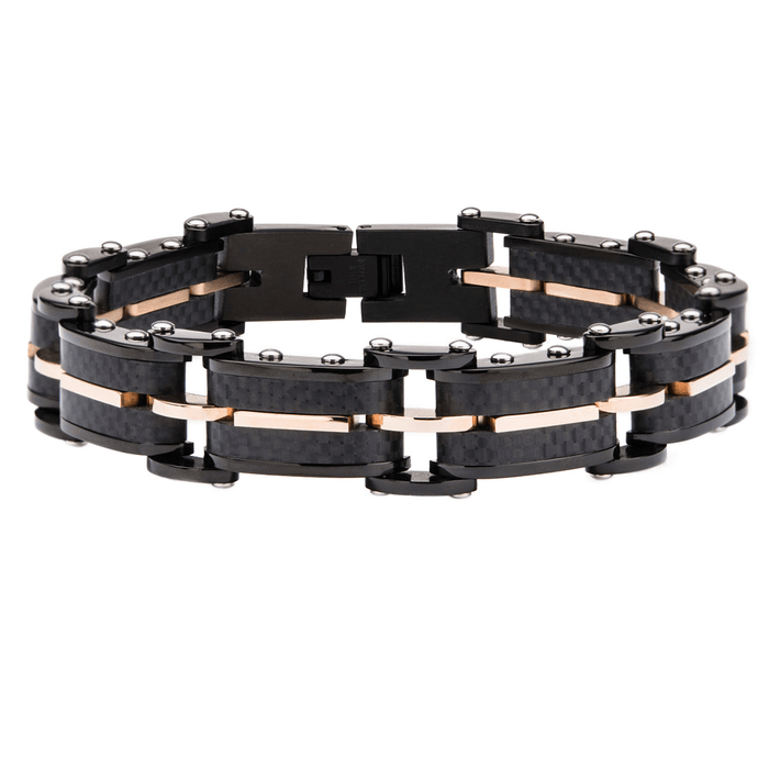 ALEHOUSE Carbon Fiber Mens Bracelet with Rose Gold Stainless Steel