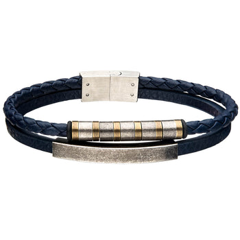 RIVERBED Antique Steel and Blue Leather Multi-strand Bracelet for Men