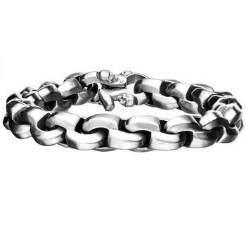 BARE BONES STEEL Round Box Link Mens Bracelet with Skull Clasp
