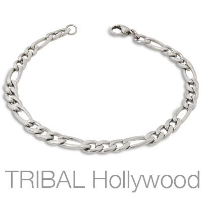 Figaro Small Link VANGUARD Mens Bracelet in Stainless Steel